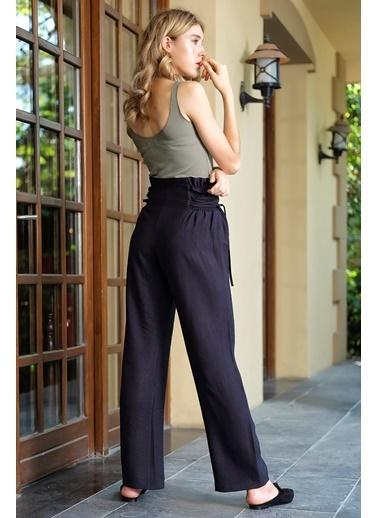 İroni Yüksek Bel Keten Pantolon Siyah